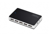 Digitus USB 2.0 Hub 10 port, 10x USB A / F, 1x USB mini vč. napájení 5V DC 4A, 1m, bl