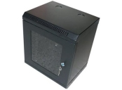 10 rozvaděč nástěnný 4U/280mm skleněné dveře - černý