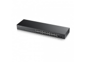 Zyxel GS1900-24, 26-port Gigabit Web Smart switch: 24x Gigabit metal + 2x SFP, IPv6, 802.3az (Green), Easy set up wizard, fanless,