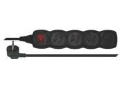 Emos prodlužovací šňůra P1415C - 4 zásuvky, 5m, s vypínačem, černá