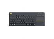 Logitech klávesnice Wireless Keyboard K400 Plus, CZ/SK, unifying přijímač, černá