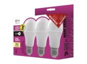 Emos LED žárovka Classic A60, 9W/60W E27, WW teplá bílá, 806 lm, Classic A+, 3 PACK