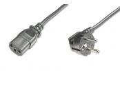 Digitus Napájecí kabel, CEE 7/7 (Typ-F), 90o úhlový - C13 M / F, 0,75m, H05VV-F3G 0,75qmm, bl