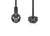 Nedis CEGB10100BK20 - Napájecí Kabel | Úhlová zástrčka Schuko - IEC-320-C5 | 2 m | Černá barva