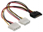 Power Adapter SATA 15-pin samec na 2x Molex 4-pin samice, 20cm
