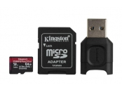 KINGSTON 64GB microSDHC Canvas React Plus 280R/160W U3 UHS-II V90 Card + SD Adptr + čtečka