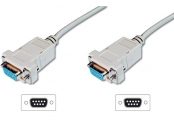 Digitus připojovací kabel nullmodem DB9 F/F 1,8m, béžový