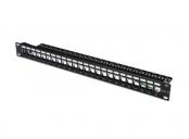 Digitus Blank Patch Panel, 24 port, stíněný, 1U, černý