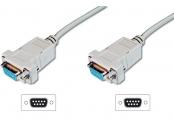Digitus připojovací kabel nullmodem DB9 F/F 3m, béžový
