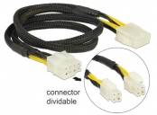 Delock Extension Cable Power 8 pin EPS male (2 x 4 pin) > 8 pin female 44 cm