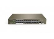 Tenda TEF1126P-24-250W (24xPoE 802.3af/at 10/100Mbps, Uplink 1xRJ45 + 1xSFP 1Gbs),250W