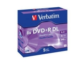 VERBATIM DVD+R DL AZO 8,5GB, 8x, jewel case 5 ks