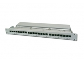 Digitus CAT 6 patch panel, stíněný, 24 portů RJ45, 8P8C, LSA, 1U, montáž do stojanu, šedá, 482x44x109 mm