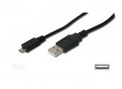 Digitus USB 2.0 kabel USB A samec na USB micro B samec, 2x stíněný, Měď, 1,8m