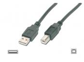 Digitus USB kabel A/samec na B/samec, 2x stíněný, černý, 1,8m