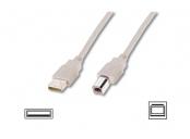 Digitus USB kabel A/samec na B-samec, 2x stíněný, béžový, 3m
