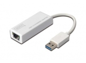 Digitus USB 3.0 adaptér na Gigabit Ethernet , 1x RJ45, USB-A, 10/100/1000Mbps, USB 3.0 XP, Vista, 7, Max OS X, Linux