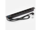 19 Rozvodný panel 8x230V 1U CZ 2m kabel černý