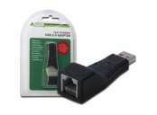 DigitusUSB 2.0 na Fast Ethernet Adapter, 1, RJ 45, USB-Male, 10/100Mbit, XP, Vista, 7, Max OS X