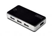 Digitus USB 2.0 Hub 7-port, 7x USB A / F, 1x USB mini vč. ext. napájení 5V DC 3,5A, 1m, bl